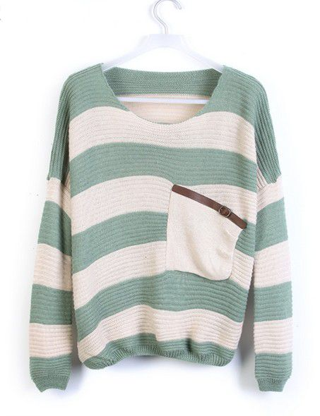 Striped Loose Sweaters With Pocket For Women on Luulla