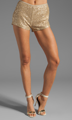 BLESS'ED ARE THE MEEK Crush Shell Short in Gold at Revolve Clothing - Free Shipping!