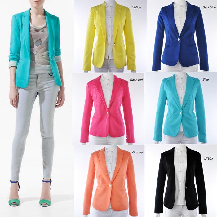 New Fashion Womens Candy Color Basic Slim Foldable Suit Jacket Blazer 6 Colors | eBay