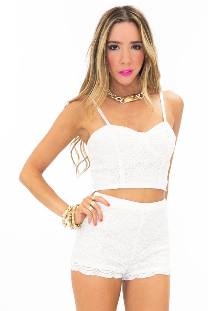 RAQUEL TEXTURED BUSTIER - White   Haute & Rebellious