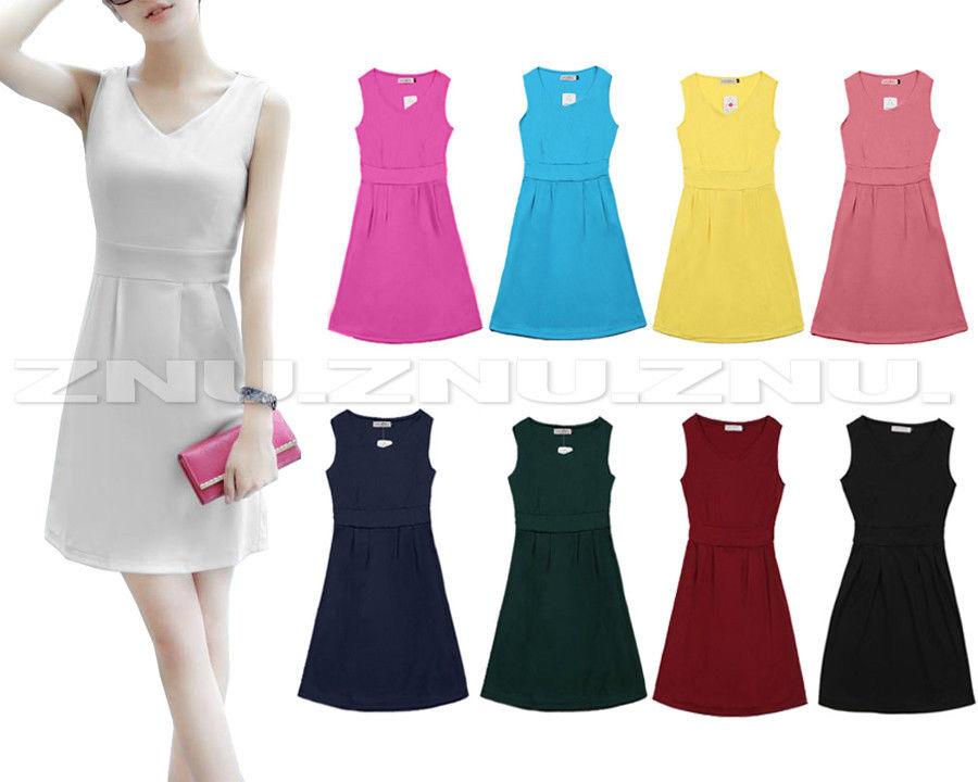 Fashion Korean Hip Length Pencil Skirt Dress Sexy V Neck Skater Sleeveless Dress | eBay