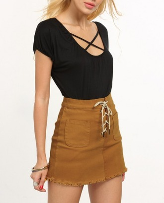 skirt girl girly girly wishlist mini skirt lace up tie up brown cute outfit