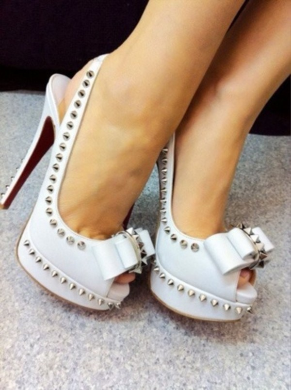 shoes white bow heels