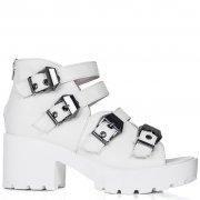 Buy ISLAND Chunky Heel Buckle Peep Toe Sandal Shoes White Leather Style Online