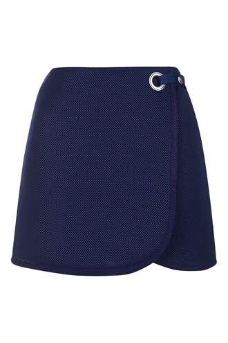 skirt wrap wrap skirt mini skirt denim blue blue skirt