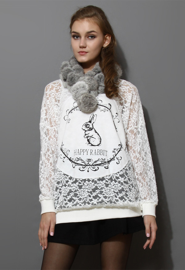sweater happy bunny full lace top