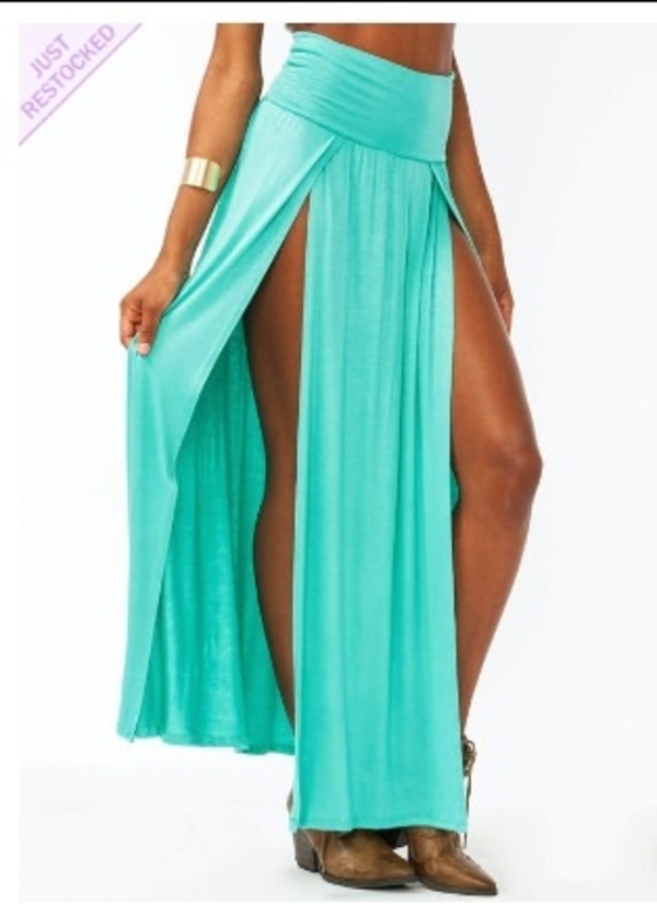 shirt a little blue long skirt slit maxi skirt