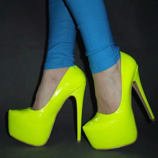 New arrived 2013 Free shipping Women Hot Neon color  sexy 16CM ultra High heel Pumps/Pink yellow platform party shoes Size 35 45-in Pumps from Shoes on Aliexpress.com
