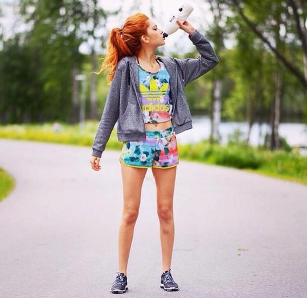 shorts adidas adidas shorts flowered shorts floral jacket shoes