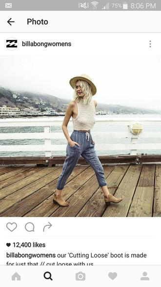 pants high waisted billabong drawstring pants blue