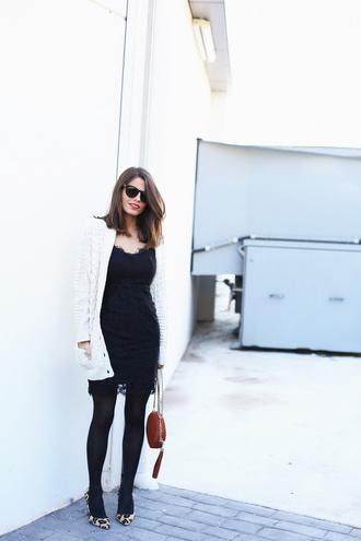 seams for a desire blogger cardigan little black dress lace dress leopard print high heels dress shoes bag jewels skirt