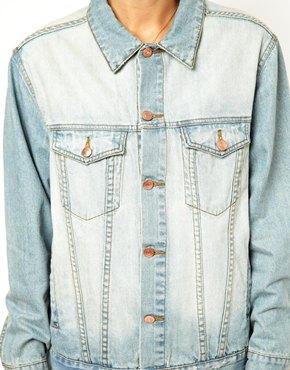 ASOS   ASOS Denim Jacket in Oversized Boyfriend Fit in Vintage Wash at ASOS