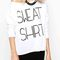 White long sleeve letter print boat neck t-shirt