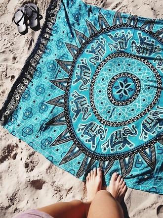 swimwear blue towel elephant beach towel mandala jewels blanket blue boho sheet doormat cloth tribal pattern beach sunny sand hippie tapestry towel vintage