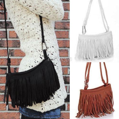 Hot Sale!! Womens Tassle Tassel Fringe Faux Suede Shoulder Messenger Crossbody Bag Handbag Purse Black Brown White-in Shoulder Bags from Luggage & Bags on Aliexpress.com