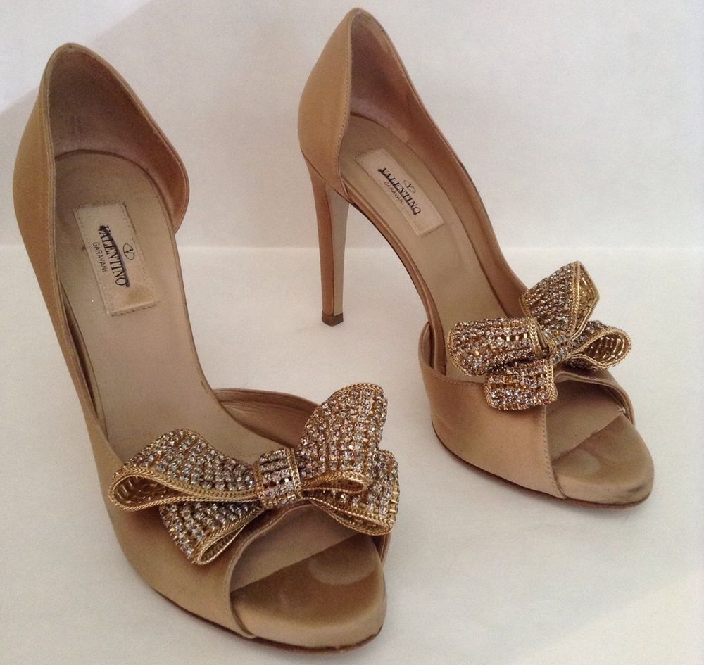 Authentic Valentino Jewelry Couture Satin D'Orsay Pump Size 37 5 MSRP $1 095   eBay