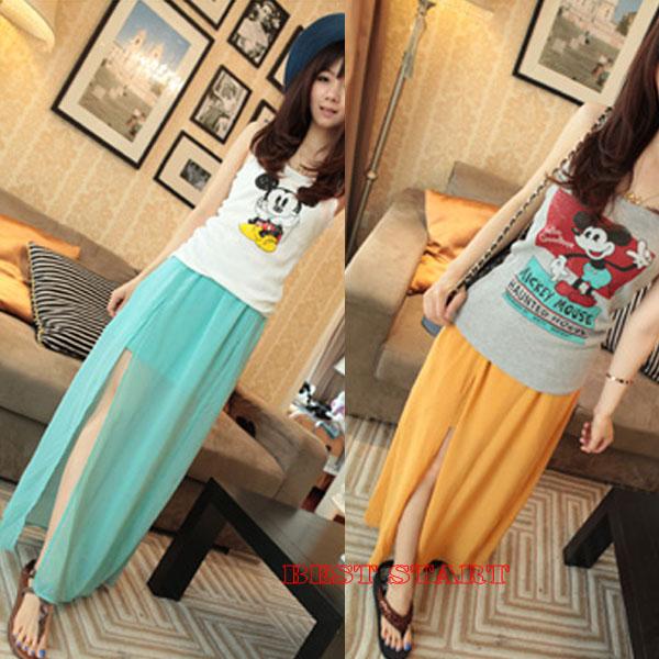HOT Trendy Women High Side SEE Though Split Chiffon Pleated Long Maxi Skirt NEW | eBay