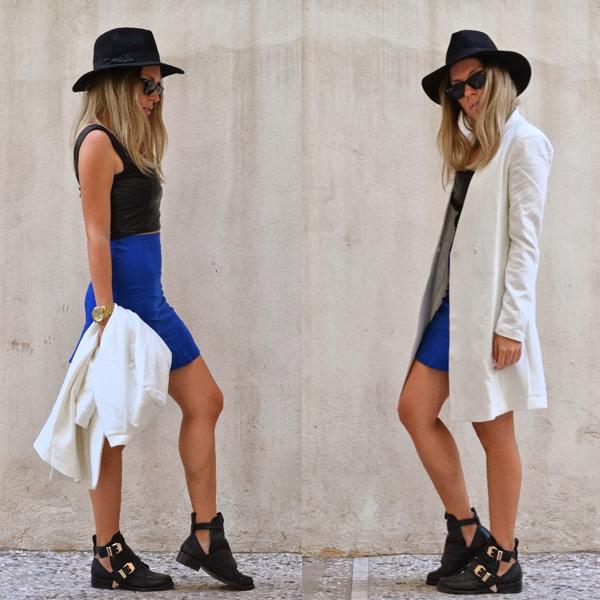 Blue High-waisted Flouncing Skater Skirt   Choies