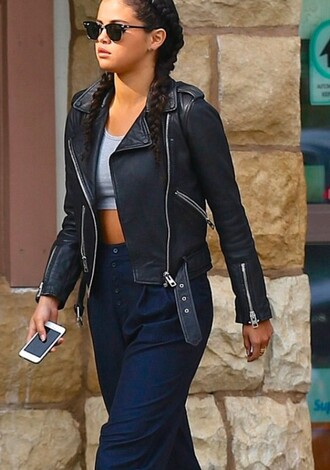 jacket selena gomez leather casual crop tops