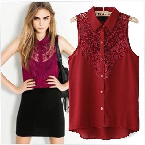 Fashion women's clothing set 2014 sleeveless turn down collar chiffon lace shirt small vest cardigan girl summer blouses -inTank Tops from Apparel & Accessories on Aliexpress.com