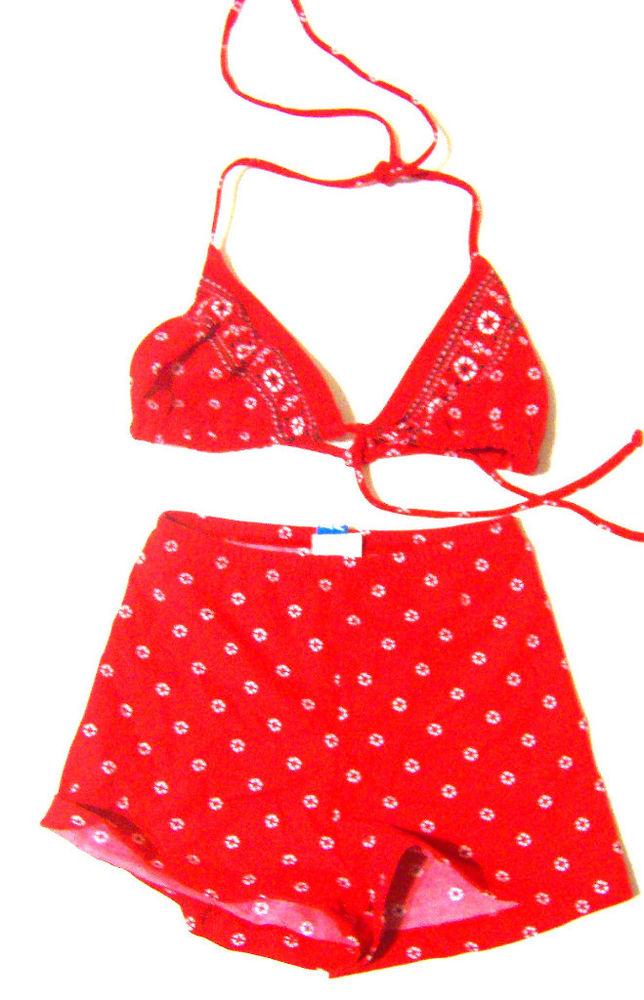 Beach Native Red Bandana Boyshorts Bikini Sz 5 6 XXS XS | eBay