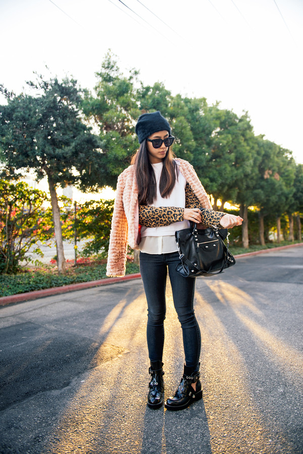 neon blush coat sweater bag hat sunglasses shoes