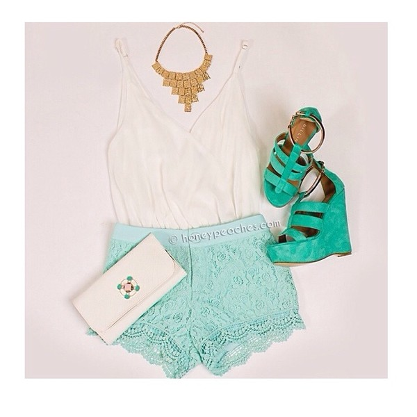 shorts lace shorts blue blouse