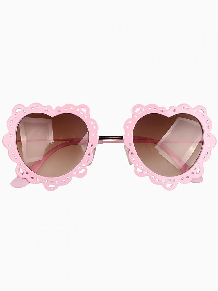 Heart Shaped Sunglasses With Pink Metal Lace Frames   Choies