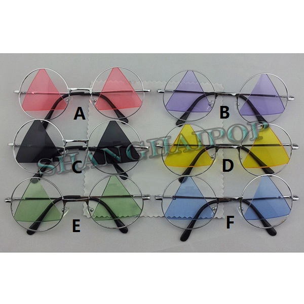 Triangle Lens Round Frame Sunglasses Shades Sunnies Party Hippy Purple Green New | eBay