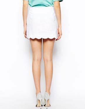 ASOS | ASOS Linen Mini Skirt with Scallop Hem at ASOS