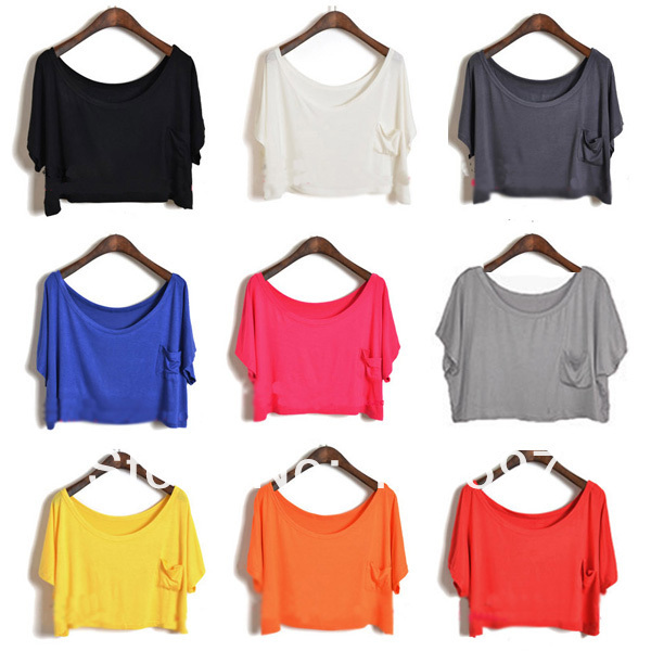 Women t shirts Modal Crop Top Blouse Tops Casual Loose Candy Color Batwing Sleeve Women's Shirt For Free Shipping-in T-Shirts from Apparel & Accessories on Aliexpress.com