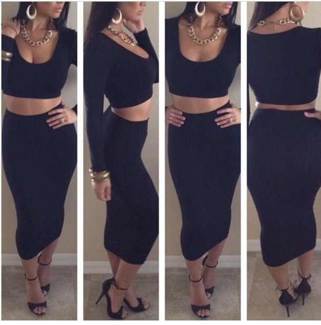 Bodycon 2 Piece High Waist Skirt and Long Sleeved Belly Shirt Black Size Small | eBay