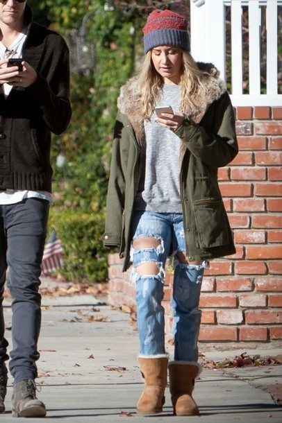 ripped jeans ashley tisdale parka jeans jacket shoes