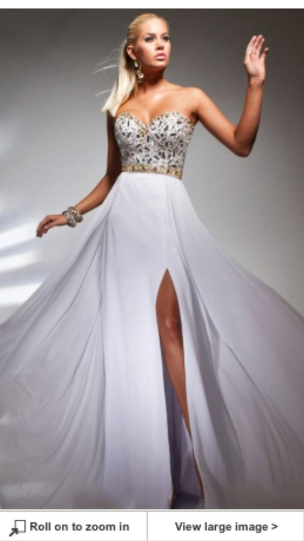 dress prom gorgeous white long jewels aline sweetheart beautiful girl prom dress