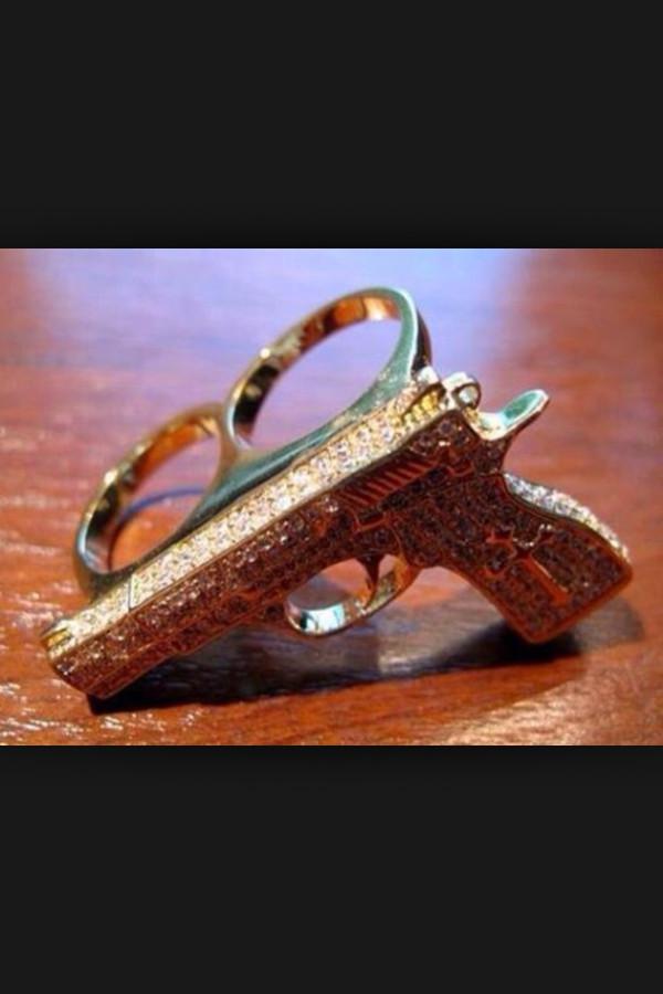 jewels jewelry ring gun swag diamonds