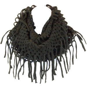 Knit Tube Long Fringed Scarf Infinity Circle Loop Endless Wrap Multi Wear Black | eBay