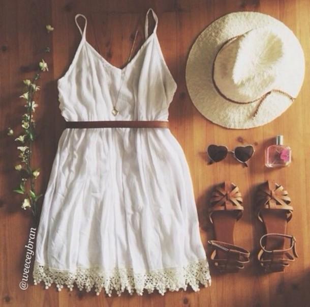 dress white dress sundress boho dress cream/white dress