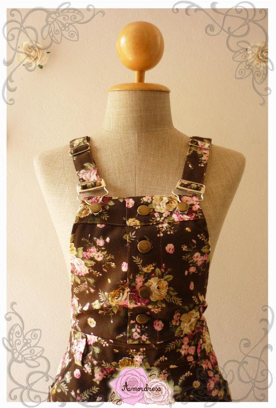 Floral Skirtalls  Overall Skirt Floral Jumper Skirt by Amordress