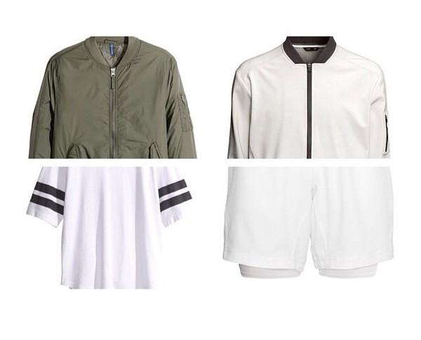 jacket green bomber jacket white fashion dope stripes black t-shirt shorts kanye west t-shirt