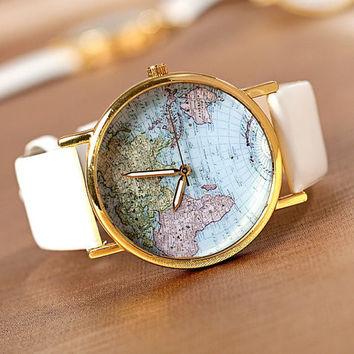 Leather World Map Watch on Wanelo