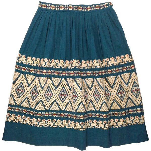 Vintage 1970s white embroidery teal blue cotton peasant skirt - Polyvore