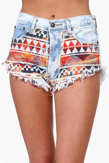 Aztec Denim Shorts in Light Blue on Wanelo