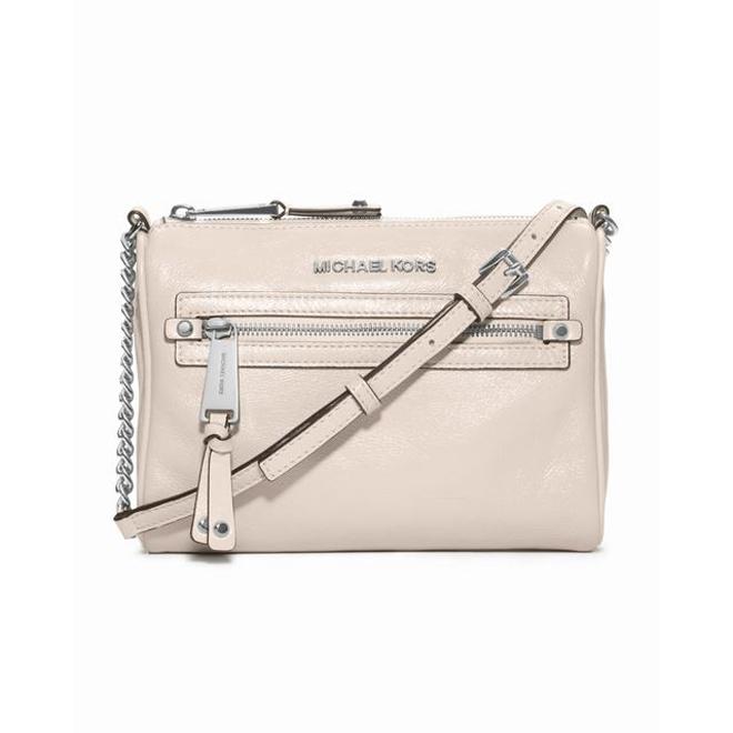 White MICHAEL Michael Kors Small Devon Patent Messenger Bag