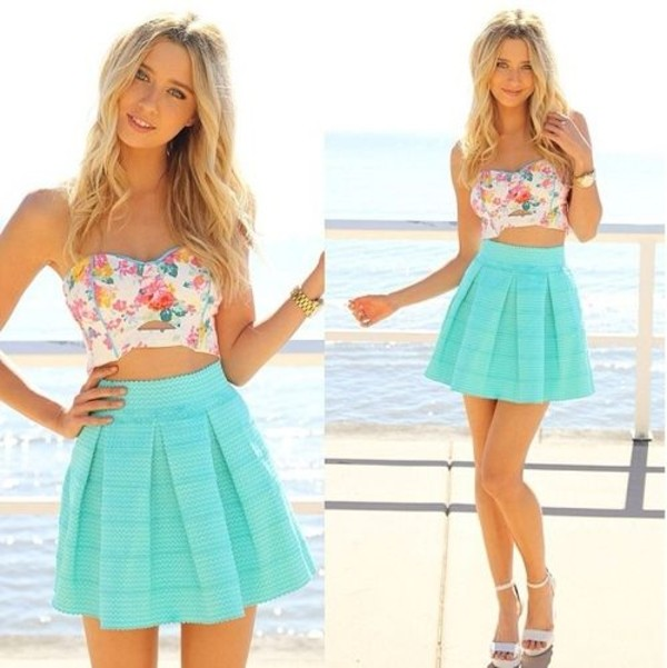 tank top floral shirt beach ocean floral tank top flowers bright colorful turquoise aqua skirt skirt aqua turquoise skirt gorgeous pretty
