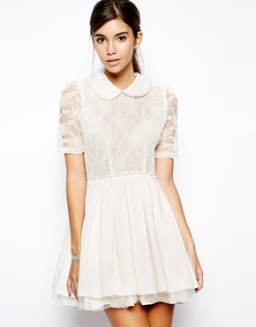Jones & Jones | Jones and Jones Poppy Lace Prom Dress with Collar Detail at ASOS