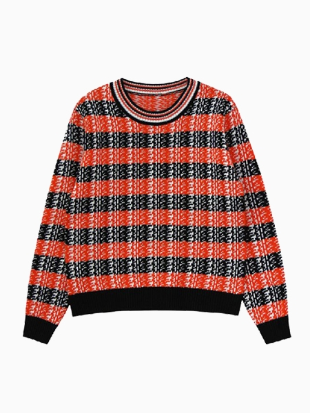 New Look Loose Knit Sweater In Red Grid   Choies