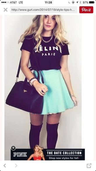 shirt délin paris black crop top black shirt black blouse paris skirt sea green mint green skirt skater skirt mint green skirt mint green skater skirt