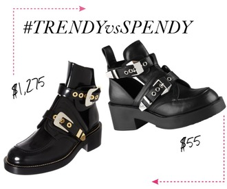 shoes boots look alikes balenciaga belt chunky heel silver details
