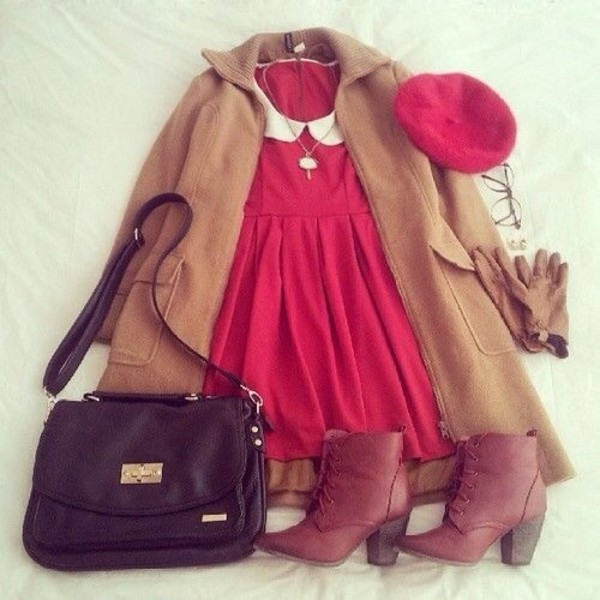 dress red peterpan collar cute vintage fall outfits winter outfits white underwear hat bag coat