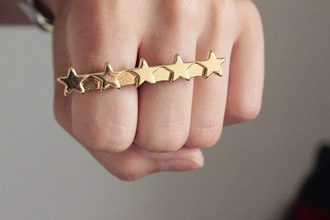 jewels gold stars double ring jewelry